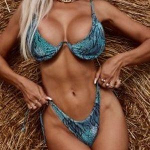 Zaful Snakeskin Tie Side Bikini Swimwear Size 8